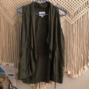 This is an army green summer vest